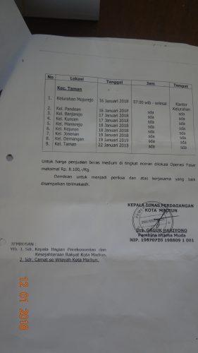 Operasi Pasar   Di Kecamatan Taman Dimulai hari Senin Jadwal terlampir  Kusus Kel kuncen  HARI RABU TANGGAL 17 JANUARI 2018 DI DEPAN KANTOR KELURAHAN KUNCEN JAM 07.00 WIB SAMPAI SELESAI