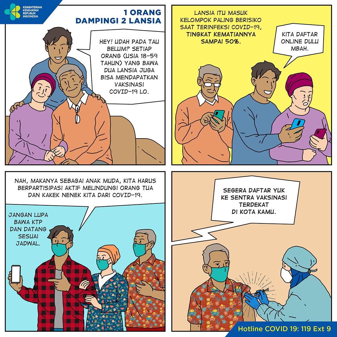 Kementerian Kesehatan RI memberikan kesempatan buat kamu para pendamping yang membawa 2 (dua) lansia untuk ikut divaksin juga lho. Tunggu apa lagi, yuk daftarkan lansia ke sentra-sentra vaksinasi terdekatmu ya.